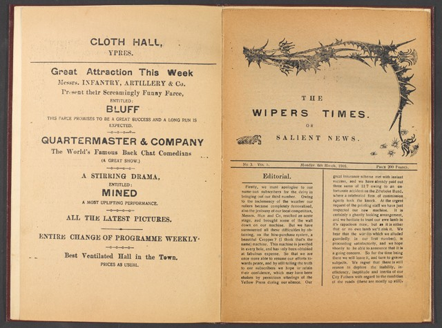 The Wipers Times', No. 3, Vol 1, Monday 6 March 1916. 1 of 2.