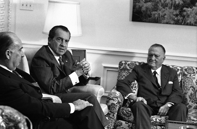 John N. Mitchell-Richard Nixon-Edgar Hoover